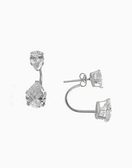 Teardrop Diamond Ear Jacket (Silver)_Benique