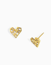 Geometric Heart Stud Earrings