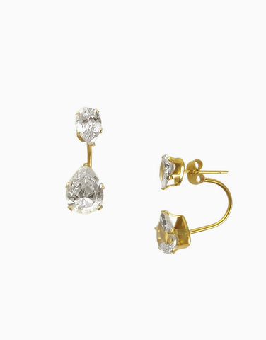 Teardrop Diamond Ear Jacket (Gold)_Benique