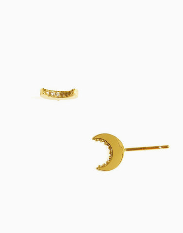 Lunar Minimalist Stud Earrings