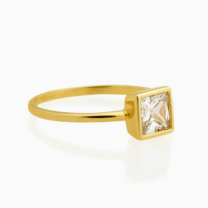 Square Clear Diamond Ring-Benique