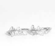 Crystal Leaf Double Ring