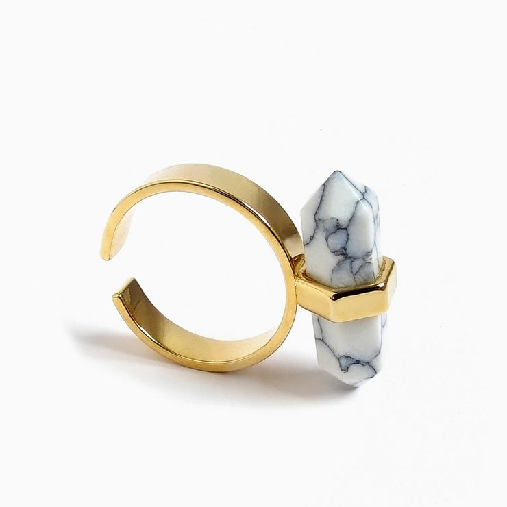 Spear Marble Ring | Gold