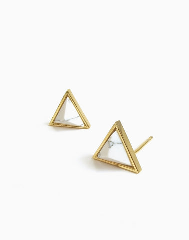 Dusk to Down Marble Studs (Gold)_Benique
