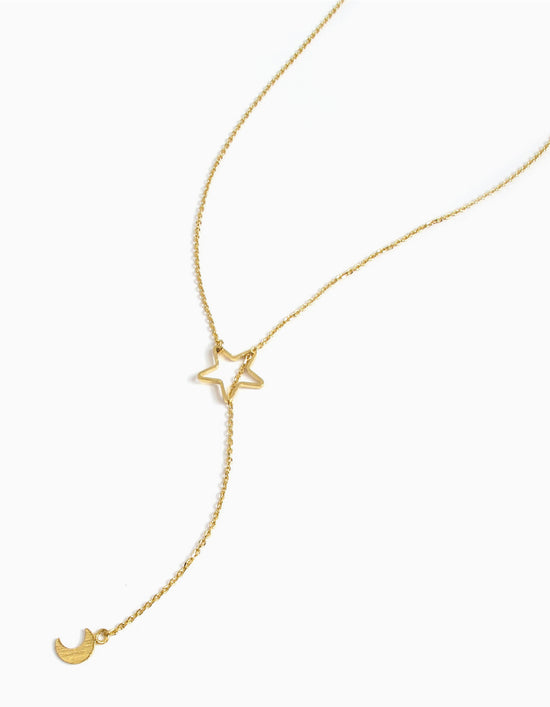 Cresent & Star Y Necklace