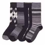 4pk Black Geo Argyle/Stripe Socks