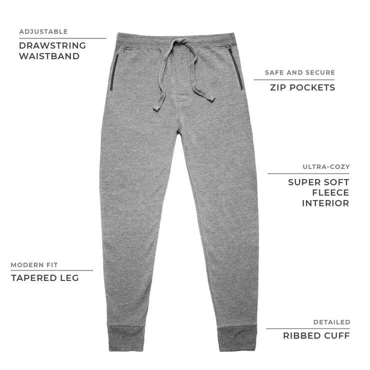 Heather Grey Fleece Zip Joggers