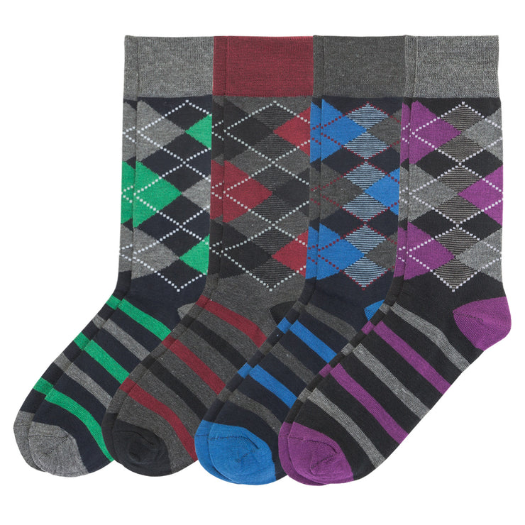4pk Multicolor Argyle Sock