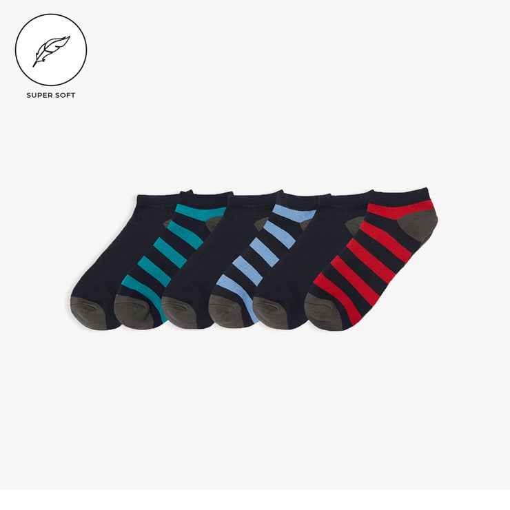 6pk Low Cut SuperSoft Rugby Stripe Socks