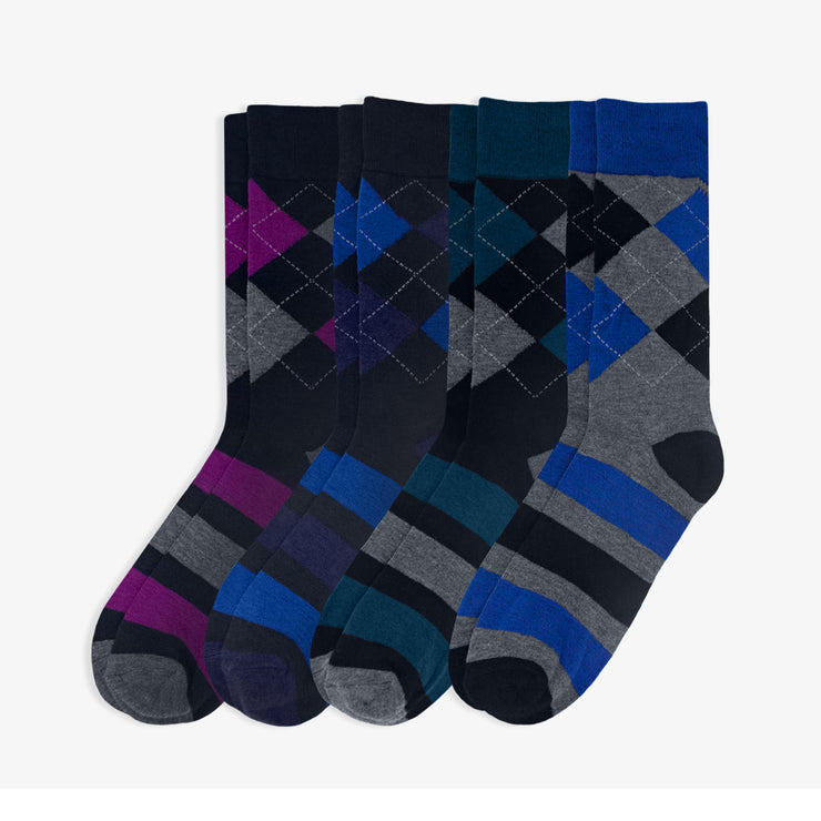 4pk Preppy Argyle Dress Socks
