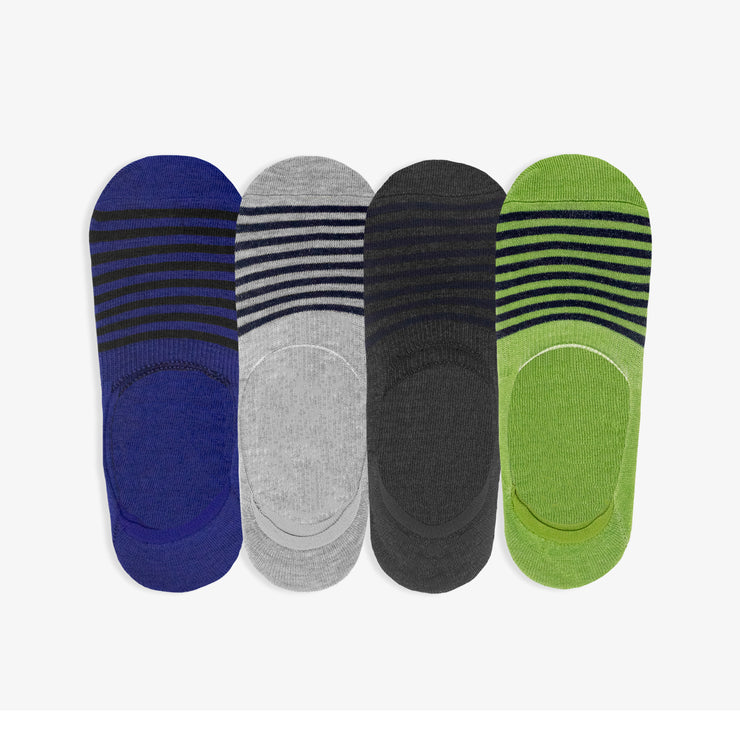4pk Invisible No-Show Multi Stripe Socks