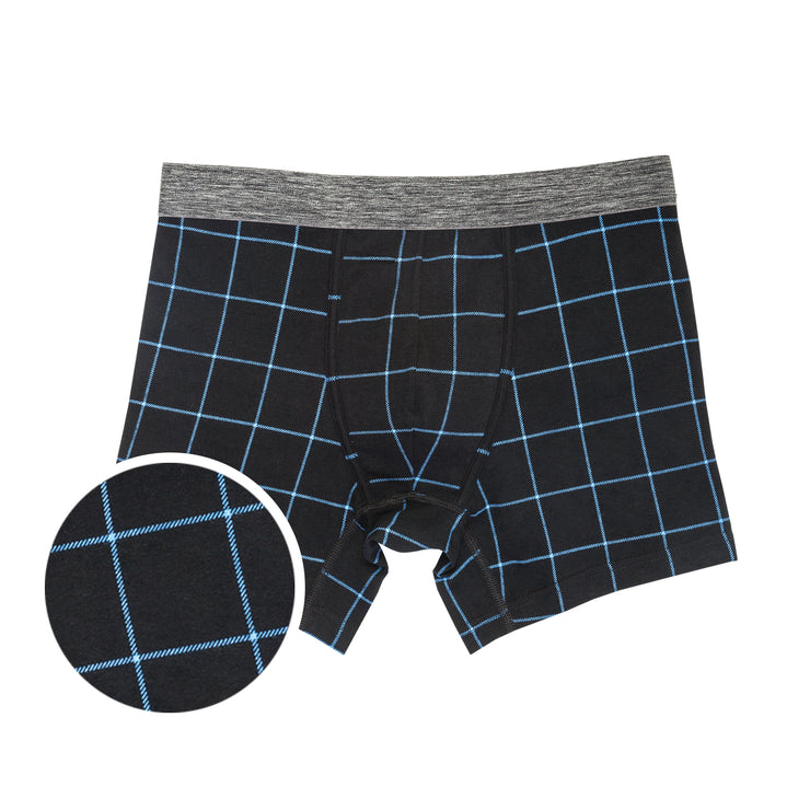 Black Printed Plaid Boxer Briefs 3pk
