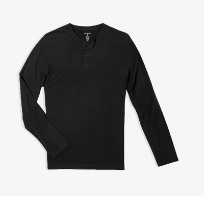 Black Sueded Jersey Henley
