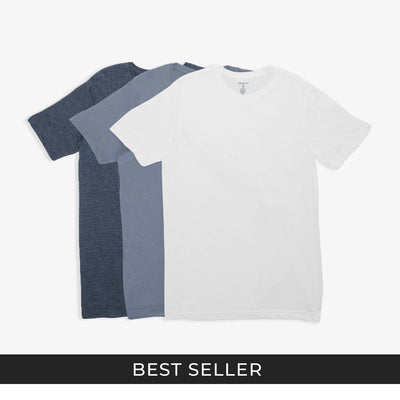 Crew Neck Shades of Blue Tees 3pk