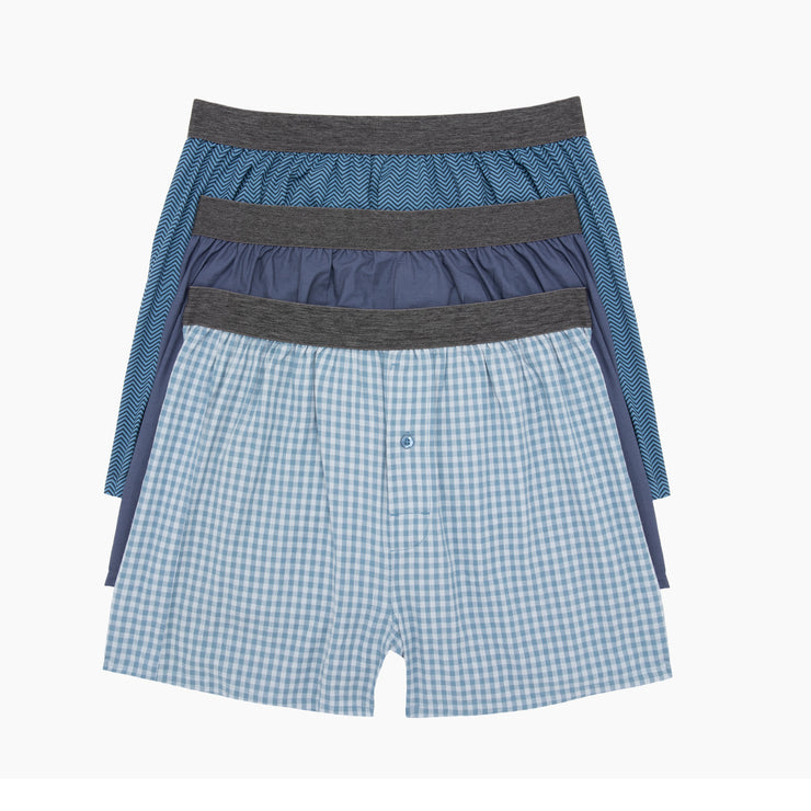 Blue Shadow Poplin Boxers 3pk