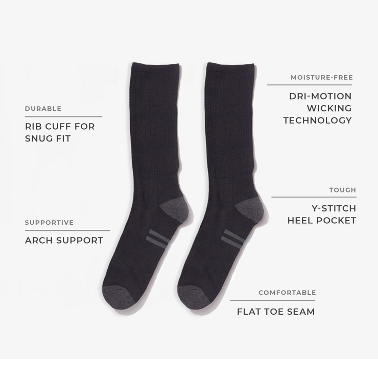 8pk Crew Performance White Socks