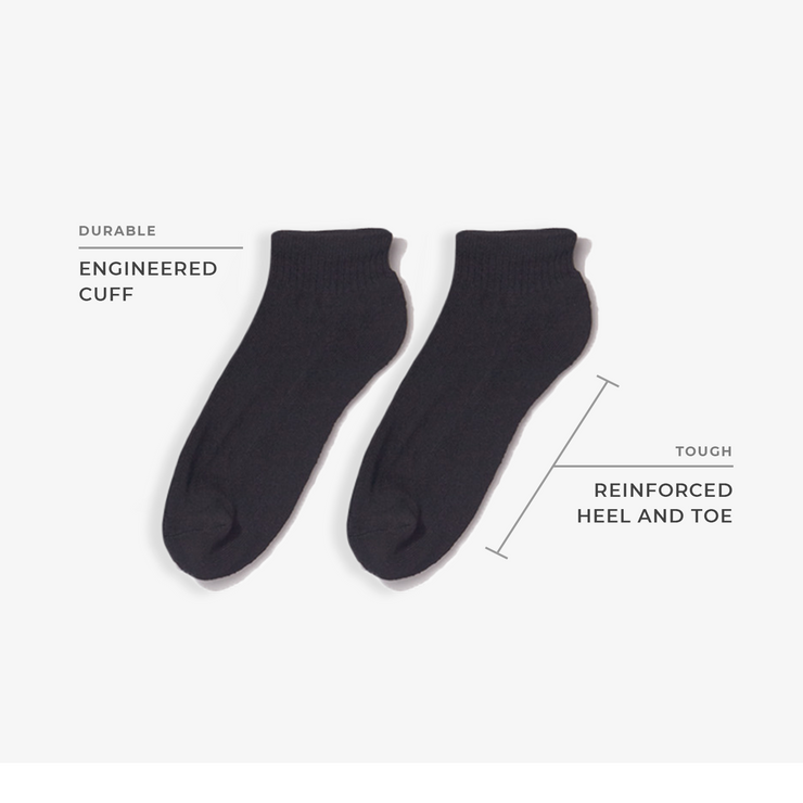 10pk Low Cut Basic Athletic Black/Grey Socks