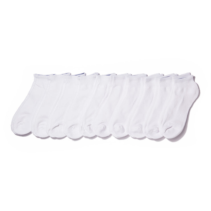 10pk Quarter Sock Basic Athletic White