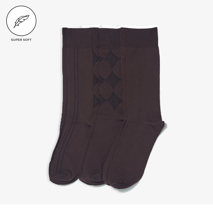 3pk SuperSoft Dark Brown Dress Socks