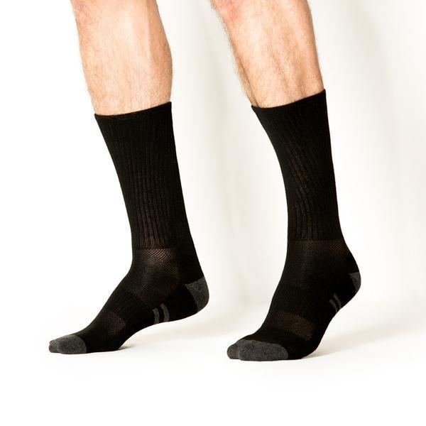 8pk Crew Performance Black Socks