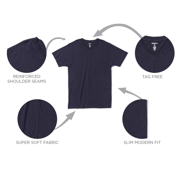 Single V-Neck Navy Sueded