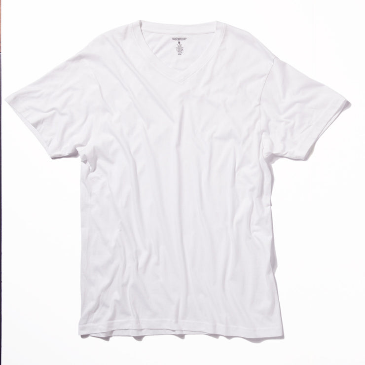 Single V-Neck White Sueded