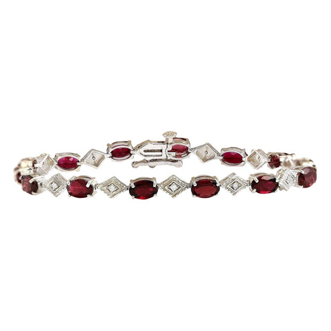 6.24 Carat Natural Tourmaline 14K White Gold Diamond Bracelet