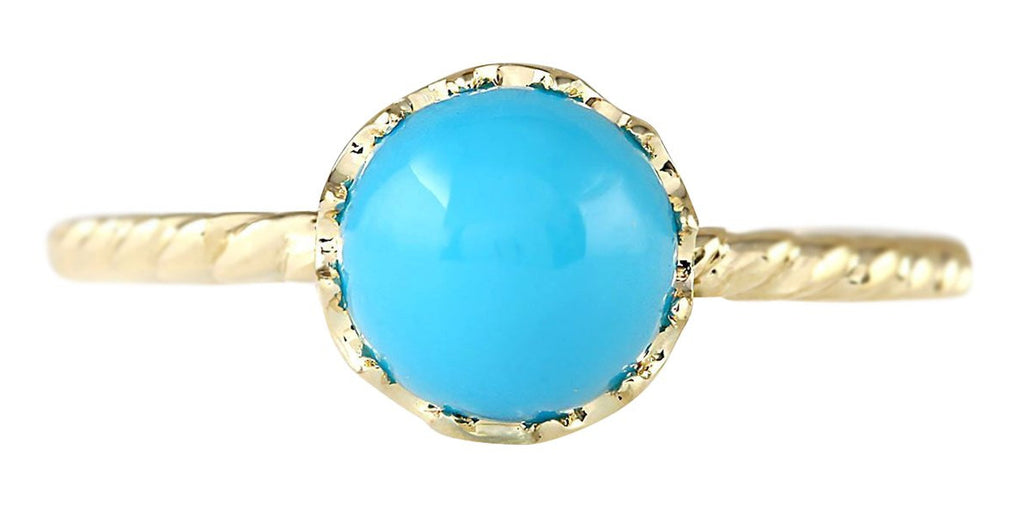 1.50 Carat Natural Turquoise 14K Yellow Gold Ring