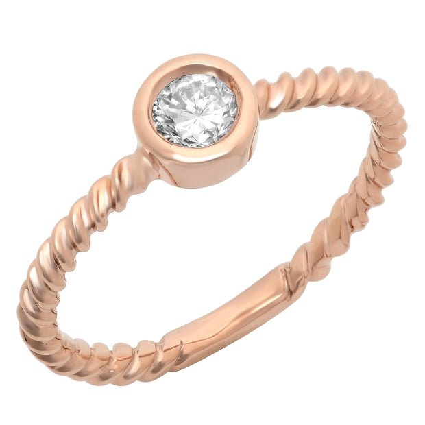 Ladies 0.3 CTW Diamond 14K Rose Gold Ring - Fashion Strada