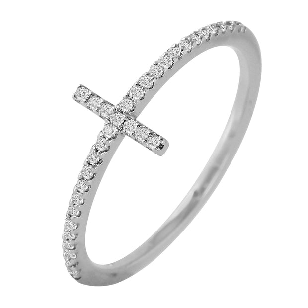 Ladies 0.14CTW Diamond 14K White Gold Ring - Fashion Strada