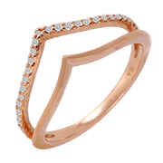Ladies 0.12CTW Diamond 14K Rose Gold Ring - Fashion Strada
