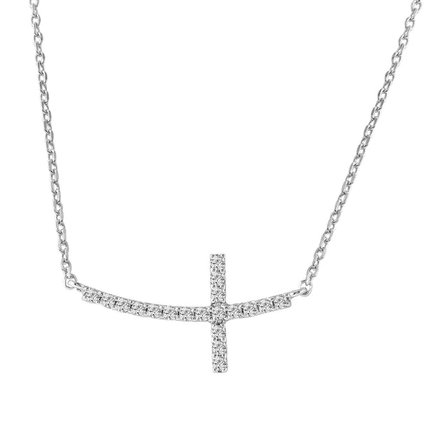 Ladies 0.2CTW Diamond 14K White Gold Necklace - Fashion Strada