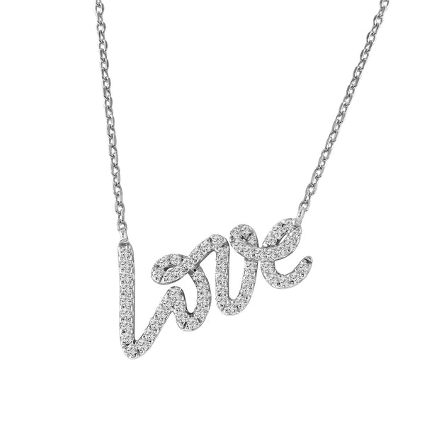 Ladies 0.39CTW Diamond 14K White Gold Necklace