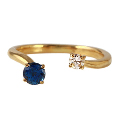 Ladies 0.46CTW Sapphire And Diamond 14K Yellow Gold Ring - Fashion Strada