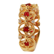 Ladies 0.58CTW Ruby And Diamond 14K Yellow Gold Ring - Fashion Strada