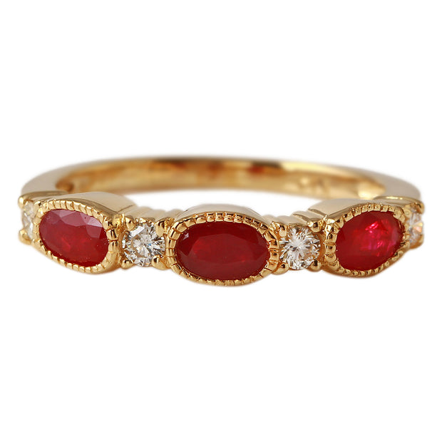 Ladies 1CTW Ruby And Diamond 14K Yellow Gold Ring - Fashion Strada