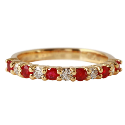 Ladies 0.55CTW Ruby And Diamond 14K Yellow Gold Ring - Fashion Strada