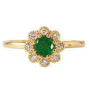 Ladies 0.18CTW Emerald And Diamond 14K Yellow Gold Ring