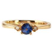 Ladies 0.5CTW Sapphire And Diamond 14K Yellow Gold Ring - Fashion Strada
