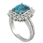 7.60 Carat Zircon 14K White Gold Diamond Ring - Fashion Strada