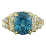 7.12 Carat Zircon 14K Yellow Gold Diamond Ring - Fashion Strada