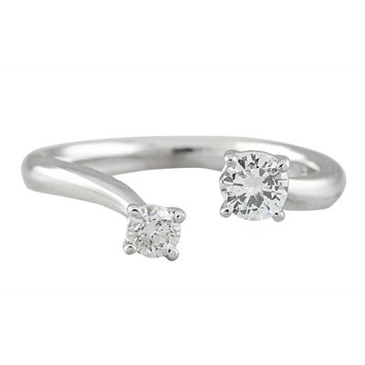 0.35 Carat Natural Diamond 14K Solid White Gold Open Front Ring