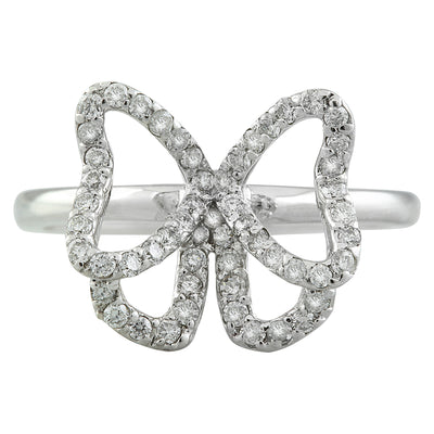 0.54 Carat Natural Diamond 14K Solid White Gold Butterfly Ring