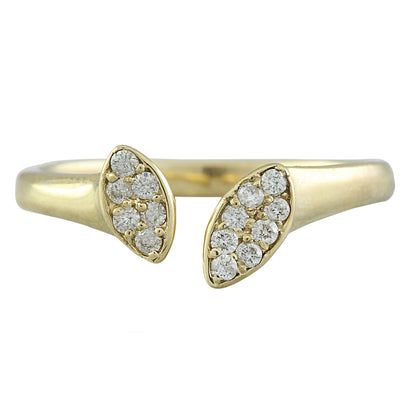 0.15 Carat Natural Diamond 14K Solid Yellow Gold Open Front Ring
