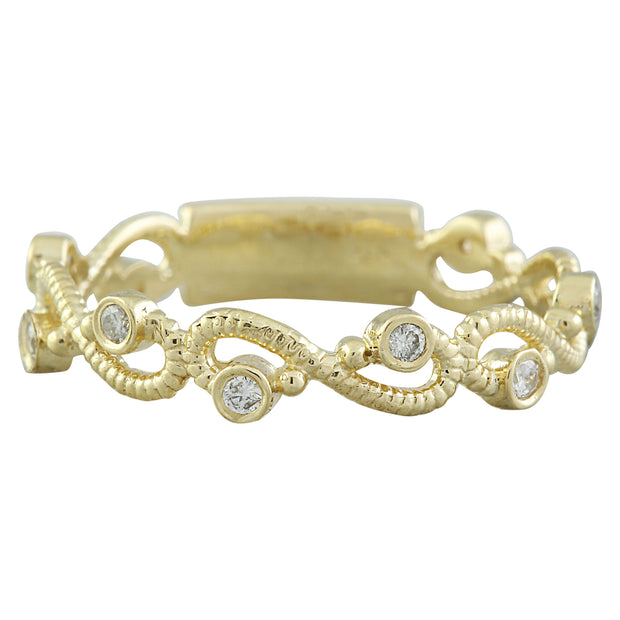0.15 Carat Natural Diamond 14K Solid Yellow Gold Ring