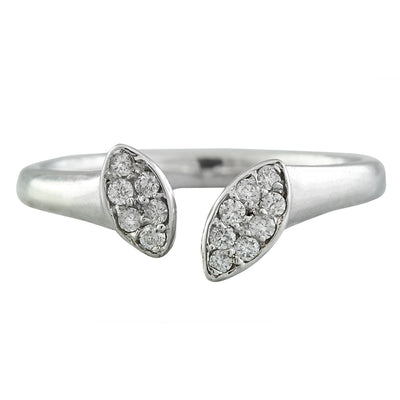 0.15 Carat Natural Diamond 14K Solid White Gold Open Front Ring