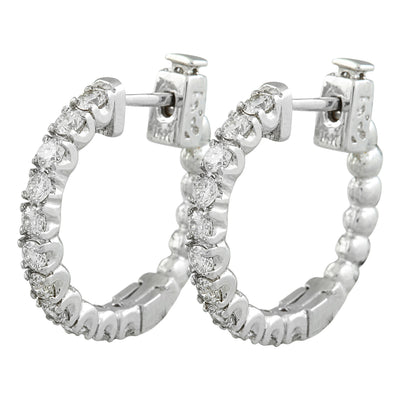 1.10 Carat 14K White Gold Diamond Hoop Earrings - Fashion Strada