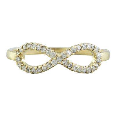 0.30 Carat Natural Diamond 14K Solid Yellow Gold infinity Ring