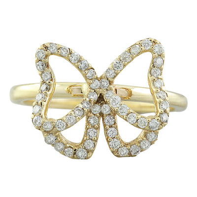 0.54 Carat Natural Diamond 14K Solid Yellow Gold Butterfly Ring