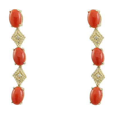 2.65 Carat Coral 14K Yellow Gold Diamond Earrings - Fashion Strada